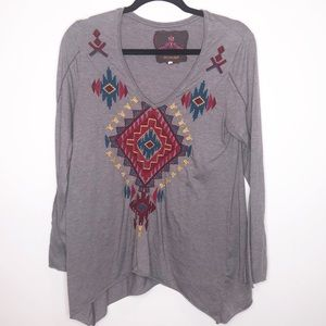 JW of Los Angeles Gray Tunic with Aztec Design